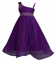 Girls Purple Flower Girl Bridesmaid Pageant Party Dress 3-4 Years