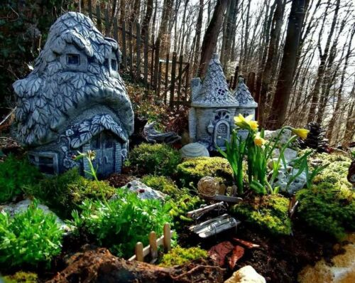Gartenfigur Feenhaus Haus Feengarten Fee Elfe Figur Garten feenhäuser set