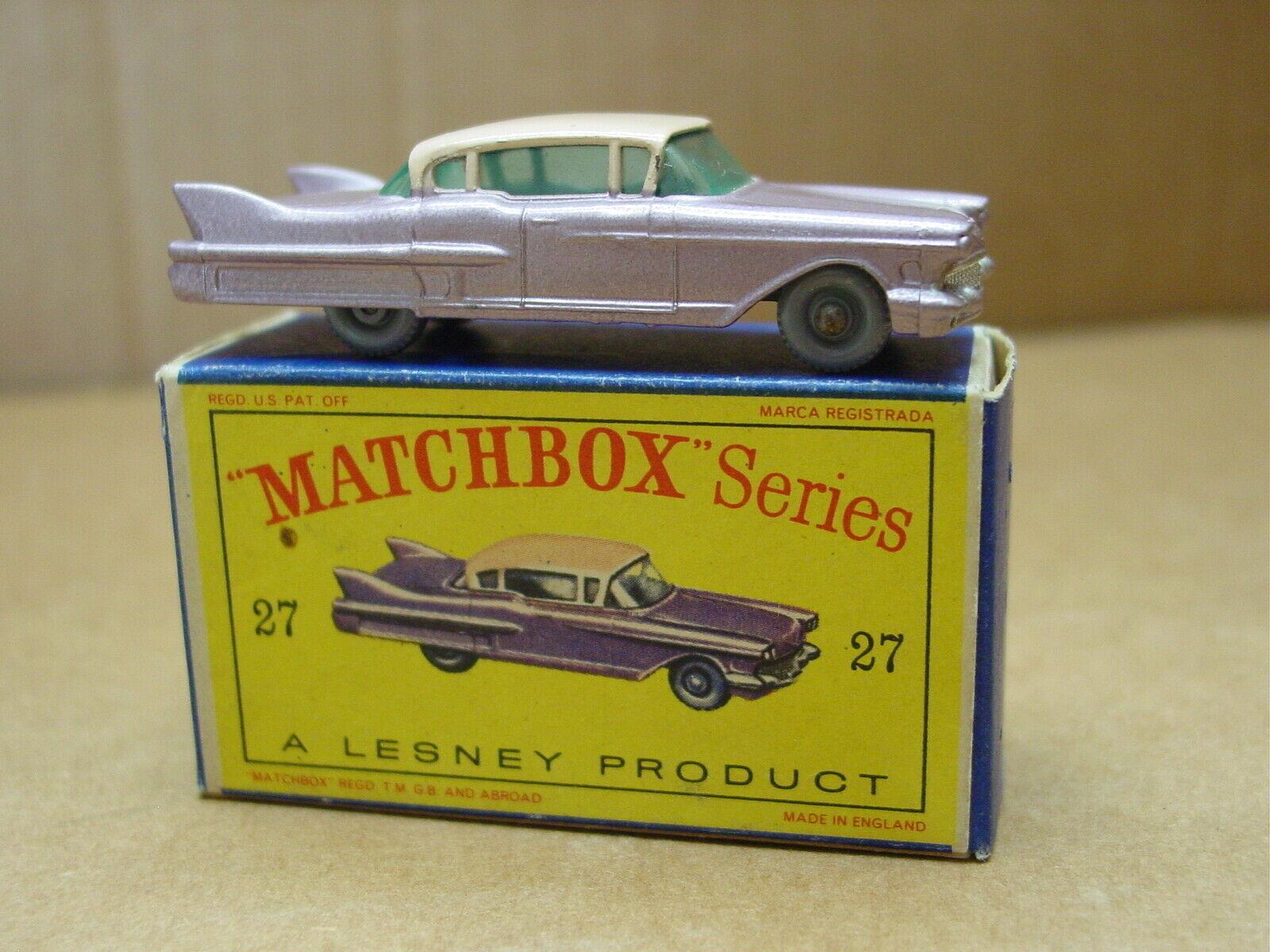VINTAGE MATCHBOX  LESNEY NO 27 CADILLAC SEDAN lila  GPW WITH BOX NEAR MINT