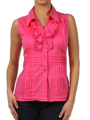 New Women/'s Juniors Professional Cotton Button Shirt Ruffle Collar Top