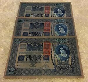 Lot Of 3 X Austria Banknotes. 1000 Kronen. Dated 1919. Pick 59.