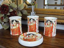 Badezimmer Set Klimt Porzellan Seifenschale Seifenspender Becher Seifenablage