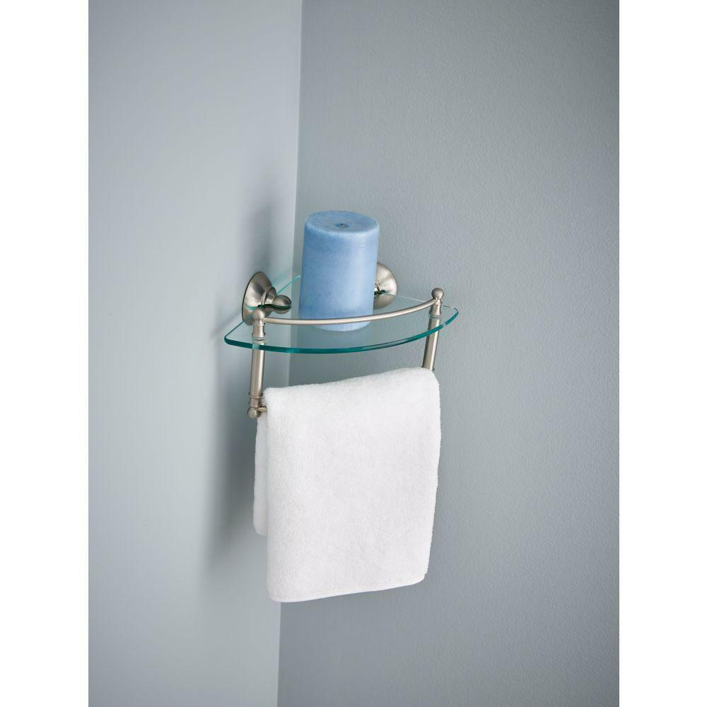 Delta 8 In. Glass Corner Shelf With Hand Towel Bar in SpotShield ...