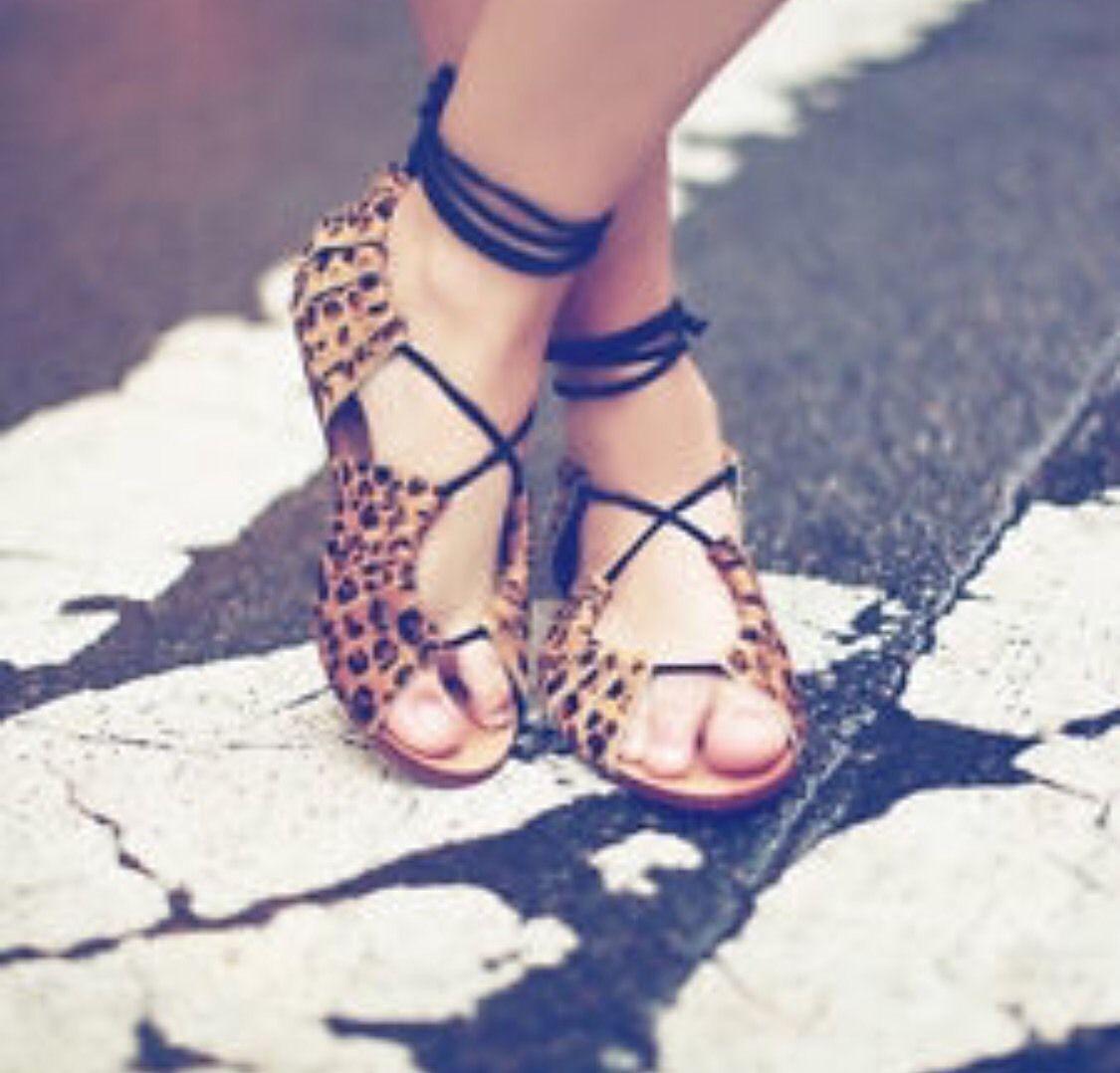 Zara Mujer Planas de Piel Leopardo Animal Piel Sandalias Planas Mujer UK3 EUR36 US6 7fe8a7