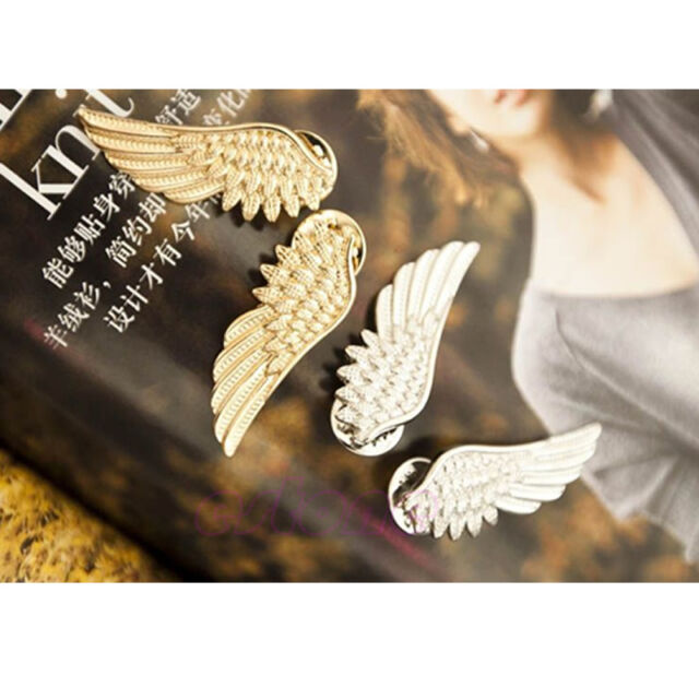 Women angle wings Punk gold color Emo Collar shirt brooch Clip Pin decoration
