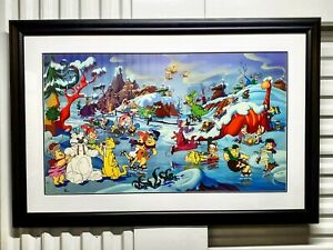 Flintstones Bedrock Winter Wonderland Seriolithograph Lmited Edition Framed