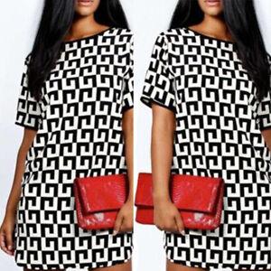 Damen-Kurzarm-Mini-Kleid-Tunika-Tops-T-Shirt-Blusen-Oberteil-Sommerkleid-Z3O6