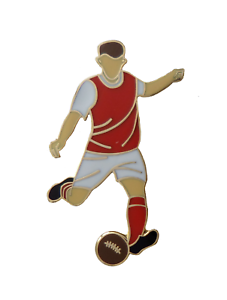 Red With White Sleeves Football Player Gold Plated Pin Badge