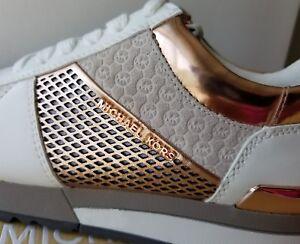 7ef30a321664 Michael KORS ALLIE MK White Rose Gold Trainer Sneakers US 10 I LOVE ...
