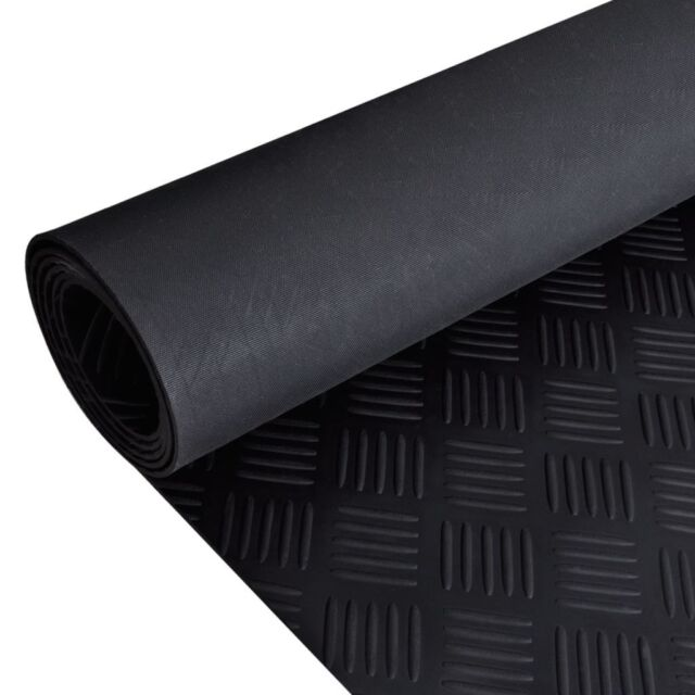 CHECKER PLATE PVC RUBBER BLACK /& GRAPHITE GARAGE FLOORING 2M WIDE X 2.5MM THICK