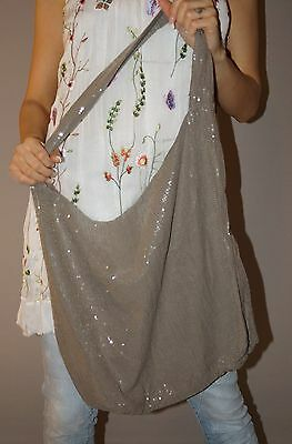 NEU Tasche Blogger Schultertasche Baumwolle Beutel Pailletten Taupe Must Have