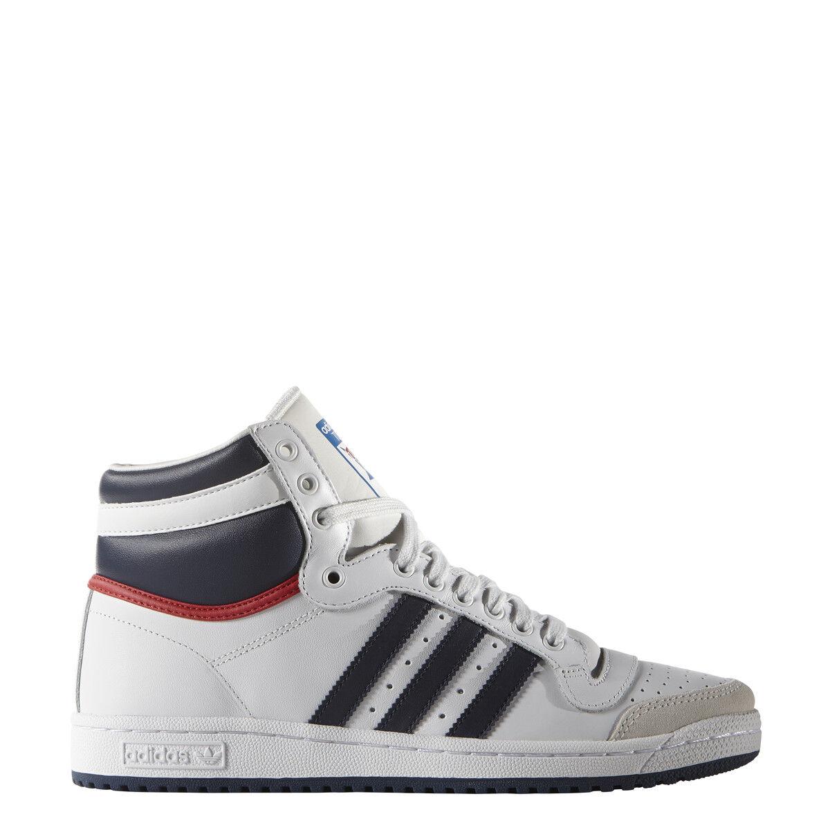 New Adidas Men's Originals Top Ten High OG shoes (D65161)  White    Navy-Red