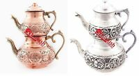 TURKISH TEAPOT SET, HANDMADE COPPER, HANDHAMMERED, 2 COLOURS WITH 2 SIZES OPTION