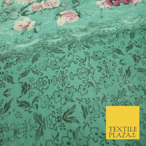 Mar Verde Rosa Floral Vestido Georgette Impreso Premium De Panel De Rosas Tela 2824