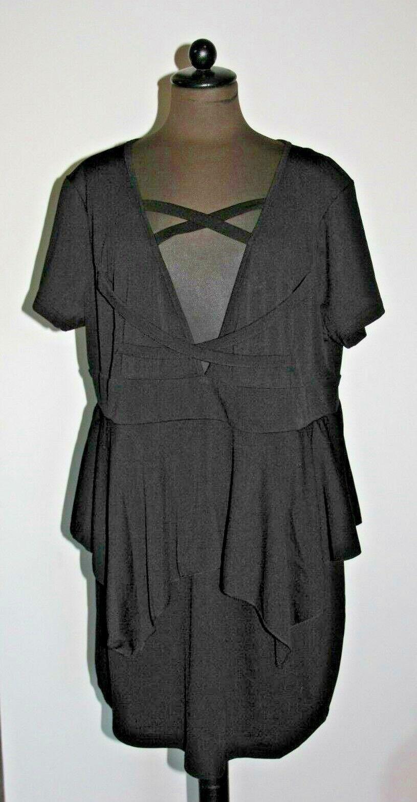 Kleid Etuikleid kurz black Polyester mit Schößchen V-Ausschnitt Größe 52   54