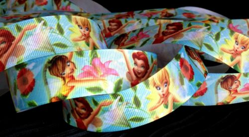 1 inch TINKERBELL fairy grosgrain RIBBON Rosetta Fawn angel wing flower 1 yard