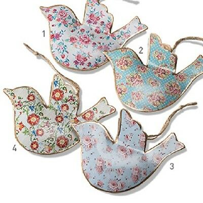 Vintage Chic Floral Metal Bird Hanging Decoration Christmas Tree Fair Trade
