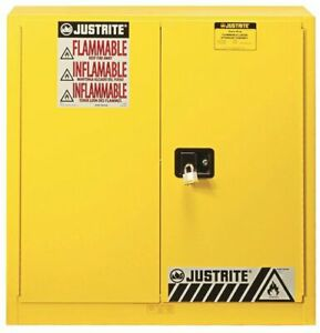 JUSTRITE 893300 Flammable Safety Cabinet, 30 gal., Yellow ...