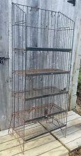 Antique Vintage Folding 5 Tier Metal Wire Shop Store Floor Display Shelf Rack