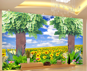 3D Trees Sunflowers 7 Wall Paper Murals Wall Print Wall Wallpaper Mural AU Lemon