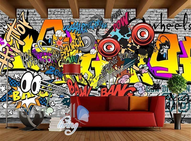 3D Graffiti Boing Boing Boing Bang Hiphop Farbe Art Wall Murals Wallpaper Decals Print Decor 2bfc8e