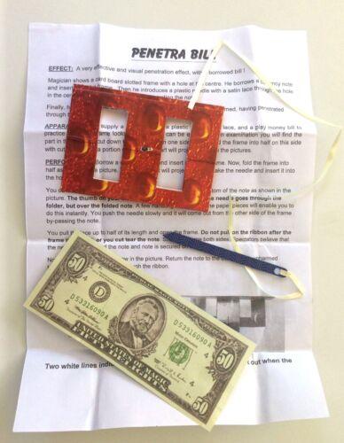 PENETRA BILL Money Ribbon Penetration Magic Trick Beginner Close Up Dollar Thru