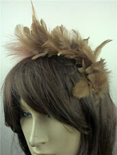 tan brown feather headband fascinator headpiece wedding party race ascot