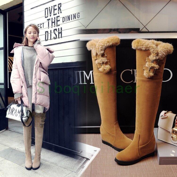 Winter Donna Knee High Stivali Fur Furry Wedge Heel Warm Thicken Shoes Plus Size