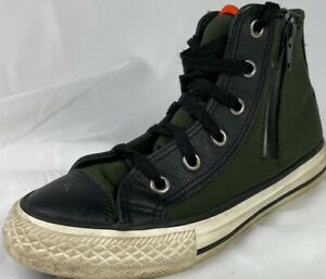 Olive Green Leather Side Zip