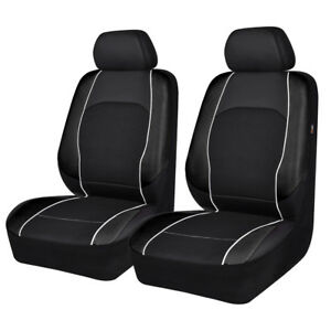 Universal-2-Front-Car-Seat-Covers-Protector-Leather-Mesh-Airbag-Compatible-Black