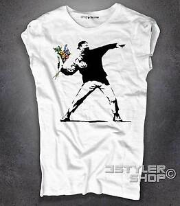 BANKSY style Flower Thrower T-Shirt white or grey