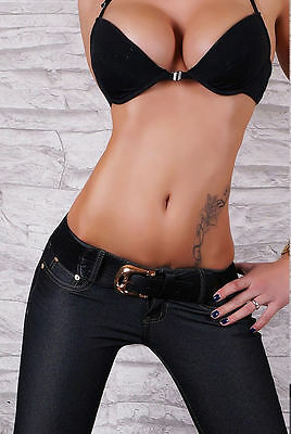 NEW SEXY LADIES DENIM JEANS LOOK PANTS WITH BONUS BELT 6 8 10 12 14 PARTY/EVENT/