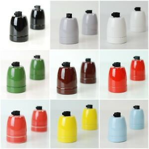 Vintage-Ceramic-Porcelain-Lamp-Bulb-Holder-Antique-Retro-Edison-ES-E27-Fitting