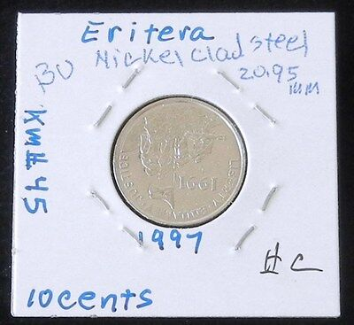 1997 Eritrea Coin  OSTRICH 10 cents  uncirculated beauty Africa