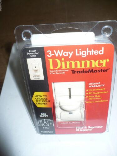 New 600W Pass /& Seymour Legrand DS603PLAV 3-Way Lighted Dimmer Light Almond