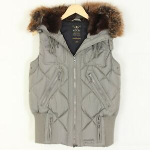 REPLAY-EXCLUSIVE-DOWN-JACKET-Quilted-Fur-Hooded-Gilet-Vest-Jacket-Women-Size-L