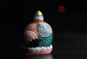 Jingdezhen China Hand Painted ceramics Pastel Double fish snuff bottle