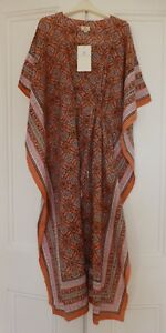 Anokhi Blocked Boho Bnwt Holiday Ethnic Caftan Printed Hand Long FfPPWOwqpd