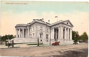VINTAGE-UNUSED-POSTCARD-MEMORIAL-CONTINENTAL-HALL-WASHINGTON-D-C-B-S-REYNOLDS