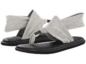 Women-039-s-Shoes-Sanuk-YOGA-SLING-2-Knit-Fabric-Sandals-SWS10001-Grey-New