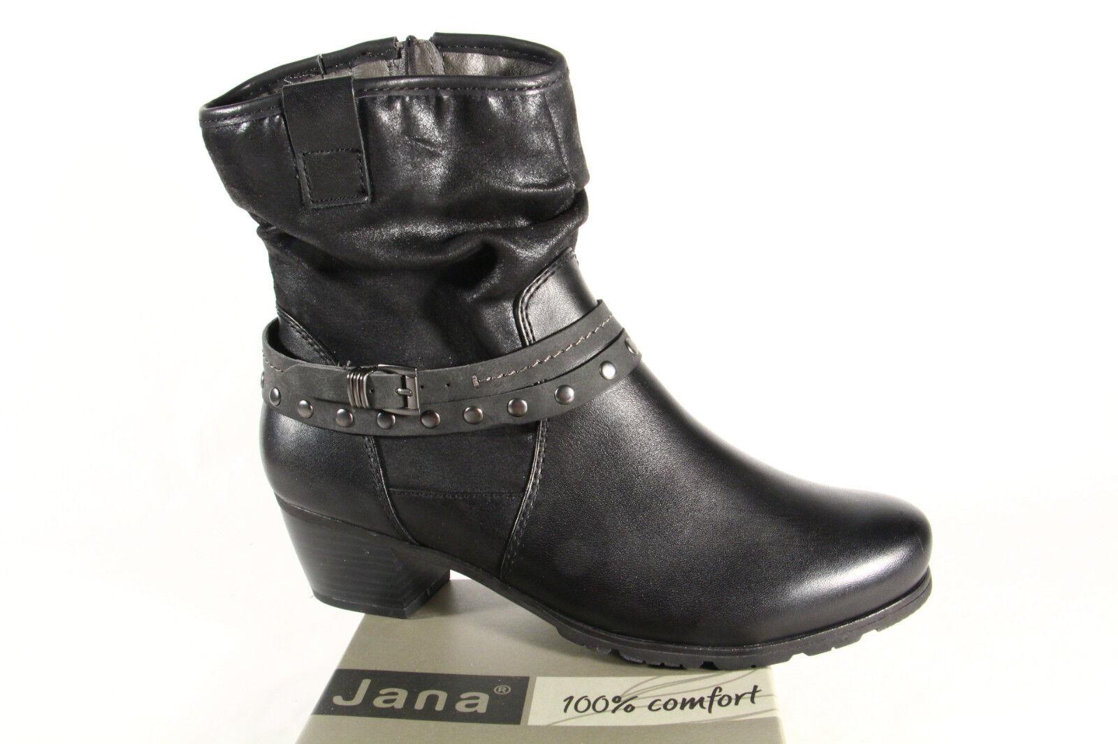 JANA Botas mujer, Botines, Botas invierno piel negro 25335 NUEVO