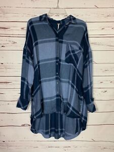 Free People Women's XS Extra Small Blue Plaid Button Long Sleeve Tunic Top Shirt