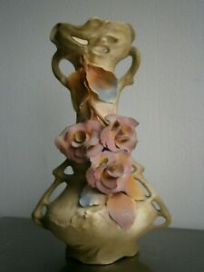 "Vase Antik Keramik St Jugendstil Dekor "" Rosen IN Barbotine"" Deko 1900"