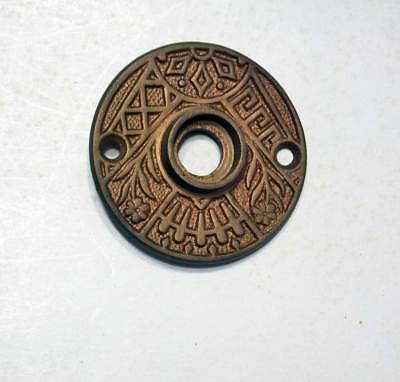 Antique Door Knob Rosette Ornate Cast Bronze Original Patina Early Original