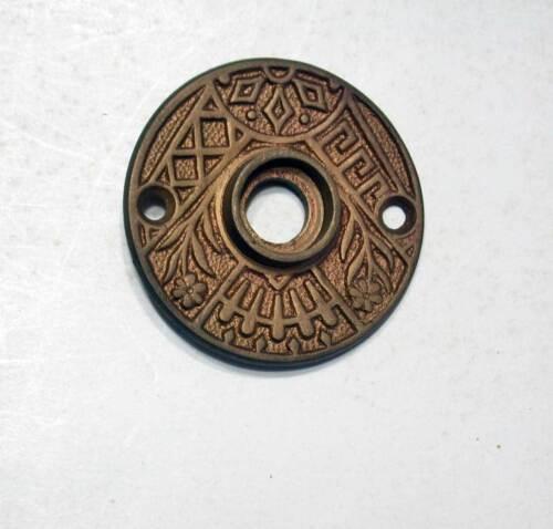 Antique Door Knob Rosette Ornate Cast Bronze Original Patina Early Original