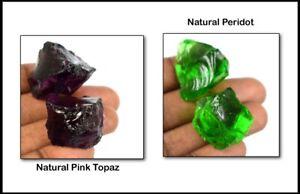 120 Ct Olive Green Peridot & Pink Topaz Gems Rough Natural Brazilian 4 Pcs Lot