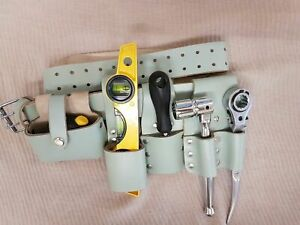 Hi-Viz-Scaffolding-Leather-Tools-Belt-Double-Spanner-Hammer-Tape-Holder