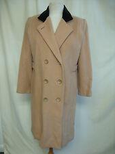 """Ladies Coat Projections beige wool (?), bust 38"""", length 39"""", velvet collar 8326"""