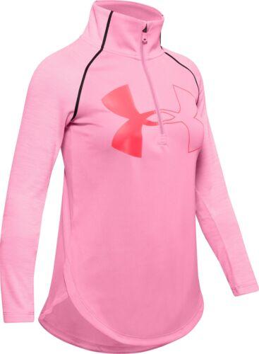 Pink Under Armour Tech 2.0 Half Zip Long Sleeve Girls Junior Running Top