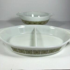 Set of Vintage Pyrex 442 Verde Green Square Flowers 1.5 Quart Bowl/Divided Dish